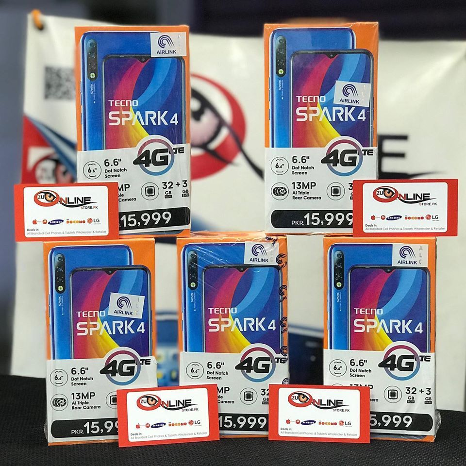 TECNO SPARK 4 BOX PACK AIRLINK OFFICIAL 1 YEAR WARRANTY 03452914221 - photo 1