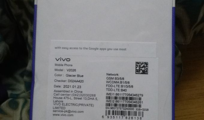 Brand New Pin Packed Vivo Y 12s 3/32 For Sale - photo 2