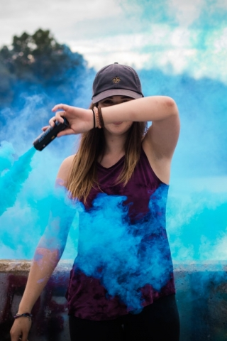 Blue smoke girl  free mobile wallpapers