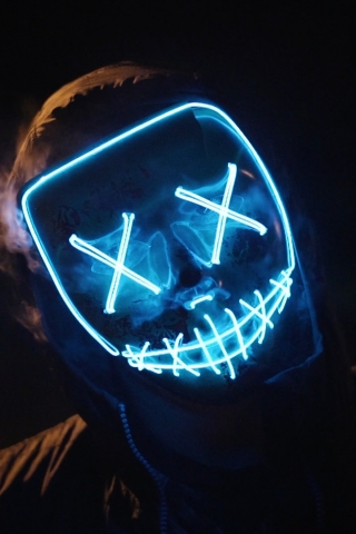 Blue LED Mask  free mobile background