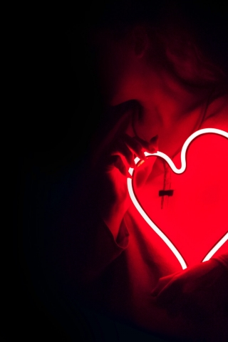 Red Neon Heart  free mobile wallpapers