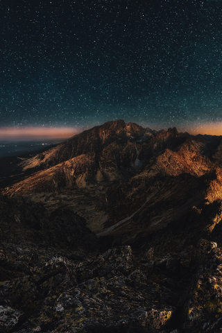 Night Bird view of Mountain  free mobile background