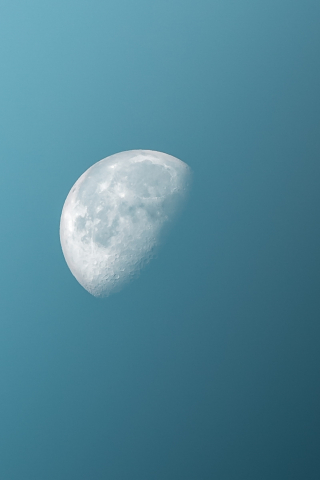 Half Moon in Blue Sky  free mobile wallpapers